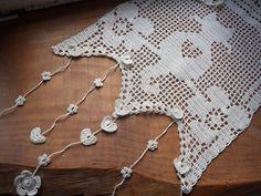 rideau brise bise au crochet chat écru dans les fleurs : Textiles et tapis par foux-elle
