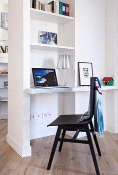 Un coin bureau très fonctionnel - Un appart' contemporain avec cuisine ouverte - CôtéMaison.fr