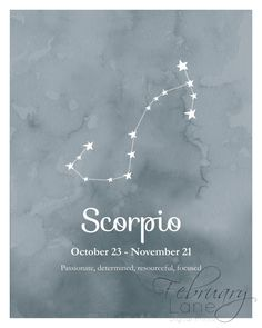 Sticker Scorpion zodiaque Constellation imprimable 8 x 10