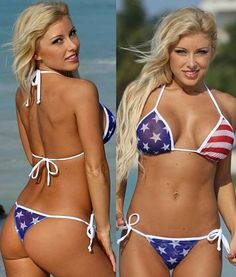 Sheer See Thru Patriotic Thong Bikini You can't help but look simply burning hot like volcanic lava in this sheer patriotic thong bikini. This is one bikini that will show off your true USA patriotism but rest assured it is not for the faint of heart. You will be battling off the crowds in this tempting swimsuit all day long. This bikini is sheer to the letter, skimpy and totally memorizing. Celebrate the July Fourth Independence day weekend in bold brave style. #sheer #patriotic #see #thru…