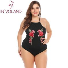 IN& Women& Bodysuit Plus Size Sexy Halter Sleeveless Embroidery Backless Slim Fit Laege Overall Romper Big Size Plus Size Romper, Plus Size Dresses, Plus Size Outfits, Plus Size Intimates, Womens Bodysuit, Cute Fashion, Mens Fashion, Overalls, Cool Outfits
