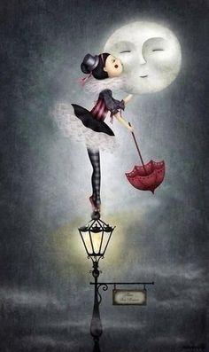 Estava tão triste, tão carente, e era noite de Lua cheia. Desesperada subiu para o píncaro de um candeeiro, meia tremula pôs-se em ...