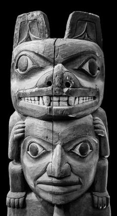 Amazon.com Art: Totem Pole Detail - Black and White Photograph : Silver Gelatin : Keith Dotson