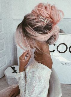 Ombre Pink Wigs Long Wavy Synthetic Hair Lace Front Wigs for Halloween Cosplay Ombre rosa Perücken l Cool Braid Hairstyles, Wedding Hairstyles For Long Hair, Natural Hairstyles, Hair Updo, Short Hairstyles, Evening Hairstyles, Hairstyle Ideas, Curly Hair, Scene Hairstyles
