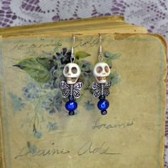 Charming White Skull Blue Pearl Dead Fairy by madrabbitcouture