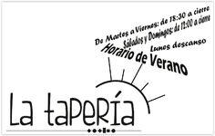 https://www.facebook.com/barlataperia/photos/a.414780315398741.1073741829.230867777123330/479340175609421 HORARIO DE VERANO - LA TAPERÍA * De Martes a Viernes: de 18:30 a cierre * Sábados y Domingos: de 12:00 a cierre * Lunes descanso  LA TAPERÍA facebook.com/barlataperia/ Plaza San Juan de la Cruz, 3, Umbrete Tfno. 955 316 371  Promocionado por Globalum. Marketing en Redes Sociales facebook.com/globalumspain