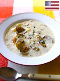 Recipe : ニューイングランド風クラムチャウダー(アメリカ)/アメリカを代表するスープ。あさりの味が詰まったクリーミーで贅沢な味わい