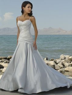 A-line Sweetheart Neckline Spaghetti Straps with Elegant Beading Semi-Cathedral Train Satin Wedding Dress
