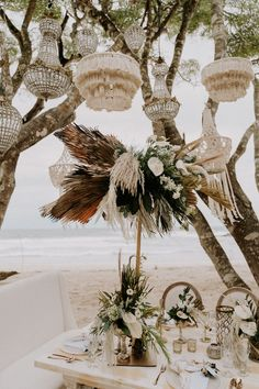 This destination elopement in Costa Rica is all about the boho chic vibes. Picture an intimate al fresco costal setting with hand-woven macrame lamps and a statement bridal crown. You are going to love this breathtaking elopement! Boho Beach Wedding, Beach Wedding Reception, Beach Wedding Inspiration, Elope Wedding, Chic Wedding, Wedding Table, Dream Wedding, Wedding Set, Wedding Designs