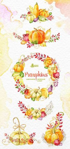 Pumpkins. Clipart: watercolor wreath bouquets fall by OctopusArtis: