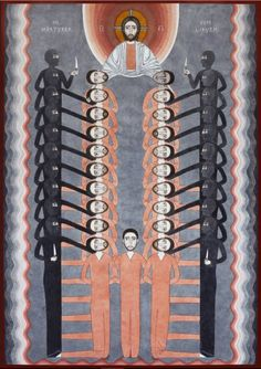 globalchristendom: The Holy Martyrs of Libya by Nikola Saric, a Serbian artist in Germany. The modern icon depicts the beheading of 21 Christians in Libya at the hands of ISIS. Baptism Of Christ, Jesus Christ, Religious Icons, Religious Art, Christ Pantocrator, Pin On, Orthodox Icons, Serbian, Sacred Art