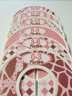 6 Custom Baby Closet Dividers Organizers Pink Girl Giraffe Jungle Safari Nursery Theme Baby Shower Gift on Etsy, $18.00