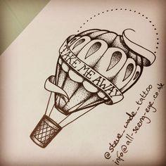 Dotwork hot air balloon available as a tattoo...