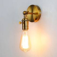 Buy Gold Wall Sconce Industrial Wall Lamp Vintage Wall Light Loft for Bulb Iron Retro Home deco Lighting fixtures luminaria Led Wall Lamp, Ceiling Lamp, Wall Sconces, Led Stair Lights, Stair Lighting, Vintage Wall Lights, Vintage Walls, Silver Bedside Lamps, Solar Lamp
