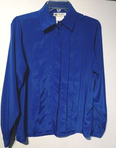 Chagall blouse royal blue size 8 38 bust pleats long sleeved #Chagall #Blouse