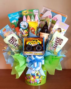 Easter basket candy bouquet for a boy