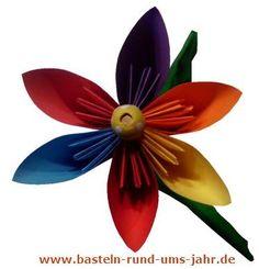 Bunte Blume Aus Papier Mit Kindern Basteln