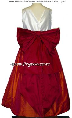 New Ivory, mango orange and cranberry flower girl dresses with v-back