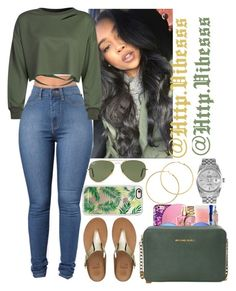 """""""Untitled #944"""" by jazaiah7 ❤ liked on Polyvore featuring WithChic, FitFlop, MICHAEL Michael Kors, Ray-Ban, Casetify, Melissa Odabash and Rolex"""