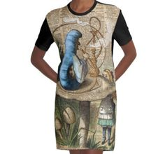 Graphic T-Shirt Dress Alice,Mushroom and Jin vintage illustration over a 100 years old English Dictionary book page.Vintage Dictionary Art gifts,home decor,and apparel.