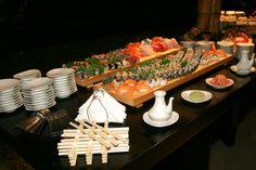 Sushi table at wedding reception