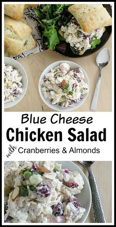 Delicious Blue Cheese Chicken Salad with Cranberries and Almonds! The blue cheese pairs well with the cranberries and almonds, creating a flavorful chicken salad with a bit of crunch! If you're lookin (Blue Cheese Making) Homemade Chicken Salads, Chicken Flavors, Chicken Salad Recipes, Chicken Treats, Recipe Chicken, Blue Cheese Chicken, Blue Chicken, Blue Cheese Salad, Keto Chicken
