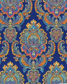 La Scala 6 - Symmetrical Paisley Florals - Quilt Fabrics from www.eQuilter.com