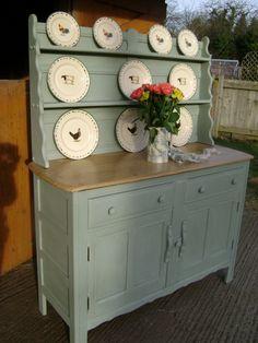 Vintage Ercol Oak Dresser, painted in Annie Sloan 'Duck Egg Blue'.