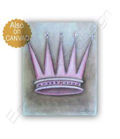 Princess Crown Art, Princess Decor, Pink Crown Print, Baby Girl Nursery, Princess Nursery, Princess Art, Girl Nursery Art, Crown Wall Art