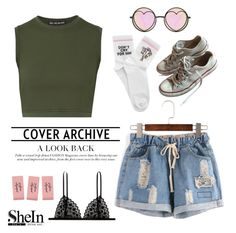 """SheIn Contest - Ripped Denim Shorts"" by catarinahoran21 ❤ liked on Polyvore featuring Live the Process, Yeah Bunny, Kiki de Montparnasse, Betsey Johnson and Converse"