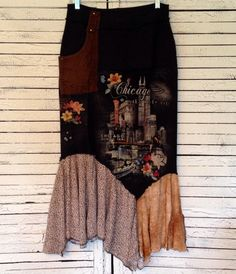 Windy City Skirt L/XL Upcycled Clothing Upcycled by AnikaDesigns