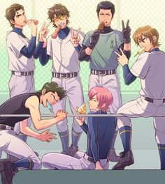 (Diamond no Ace) Second and Third Years Me Me Me Anime, Anime Love, Baseball Anime, Miyuki Kazuya, Anime Watch, Haikyuu, Neko, Anime Characters, Manga Anime