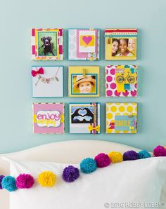 """A collection of memories—photos, notes and trinkets on small (6"""") canvases makes for one big statement!  Design Idea: Incorporate clips and clothespins to easily swap old keepsakes for new ones."""