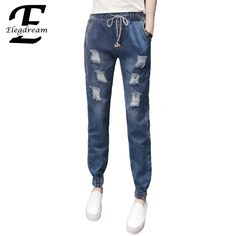 22.86$  Buy here - http://aliwh7.shopchina.info/1/go.php?t=32793541615 - Elegdream Clothing 2017 Spring Summer New Jeans Women Ankle Length Denim Pants Lady Ripped Hole Casual Loose Trousers S XXXXXL  #aliexpress