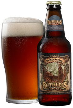 **Sierra Nevada Brewing Co.: Ruthless Rye IPA (6.6% ABV)  Another hearty, rustic and thoroughly delicious brew from the Masters in Chico.  The hoppiness is delicious but not over-powering and the Rye makes for a uniquely flavorful brew.  I have to mention that I ABSOLUTELY LOVE the LABEL. Prost!