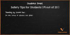 Student Safety Tips (tip 19)