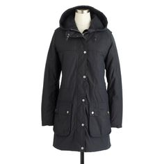 11/11/2016; 2/6/2017 - Barbour® for J.Crew Winter Durham waxed jacket ($399) - A British classic, this ready-for-anything hooded coat is made by the company that's been making outerwear since 1894. Crafted from Barbour's durable waxed cotton with quilted lining, it layers well in cool weather. As seen on Meghan in London in February 2017.