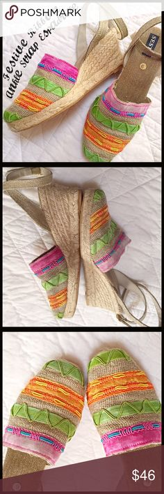 """Festive Colored Ribbon Wedge These Festive Colored Ribbon Wedges are the perfect summer wedge. This Espadrille wedge has a 3"""" wedge heel and wrap ankle strap with the slightest hint of shimmering thread throughout. Sesto Shoes"""