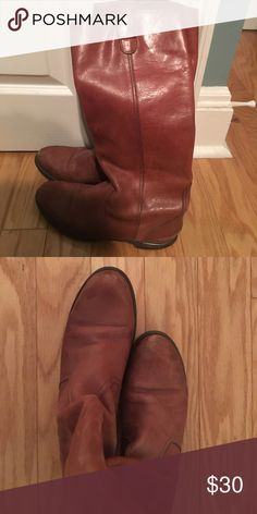 Madewell - leather cognac boots size 7 Madewell's leather cognac boots size 7. Worn and in used condition. Heel is a bit worn and leather is distressed as seen. Madewell Shoes