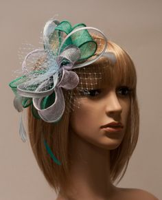 Emerald, purple and blue fascinator with feathers and veil - New item for 2015 spring and summer collection