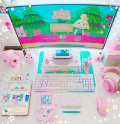 Feeling a bit sad today about the lack of animal crossing announcements at show 😢 but hopefully we'll get a dedicated direct… room kawaii namie Cute Room Ideas, Cute Room Decor, Kawaii Bedroom, Gaming Room Setup, Gaming Rooms, Pc Setup, Desk Setup, Gaming Chair, Gaming Headset
