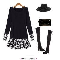 Cute Black Sweet Floral Hem Long Sleeve Dress
