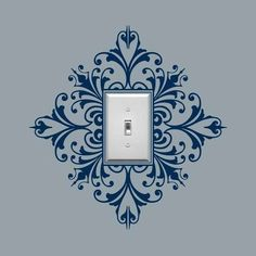 Vinyl Wall Decal, Scroll Damask Light Switch Embellishment- Single, Sticker, Wall Graphic, item 30024 from byrdiegraphics on Etsy.