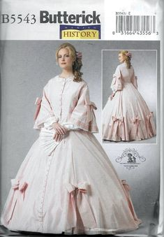Butterick B5543 Civil War Costume Dress Sewing Pattern Plus Sizes 14, 16, 18 and 20 Sacque Historical Southern Belle