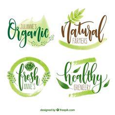 Экологические логотипы акварельные Бесплатные векторы
