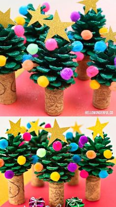 Super cute and easy holiday craft or art project the kids can make too! This Pine Cone Christmas Tree is one of the easiest and cutest holiday craft you'll ever make. Kids will love making this cute Christmas Tree craft! Pine Cone Christmas Tree, Christmas Tree Crafts, Simple Christmas, Pine Tree, Christmas Christmas, Thanksgiving Holiday, Pine Cone Christmas Decorations, Preschool Christmas Crafts, Christmas Gift Craft Ideas