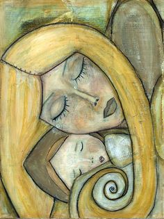 Items similar to Mixed Media Print of the Original Painting : Mother Needs Baby as Much as Baby Needs Mother by Angela DiGiovanni on Etsy Mother Art, Cubism Art, Baby Art, Angel Art, Whimsical Art, Portrait Art, Watercolor Art, Folk Art, Art Drawings