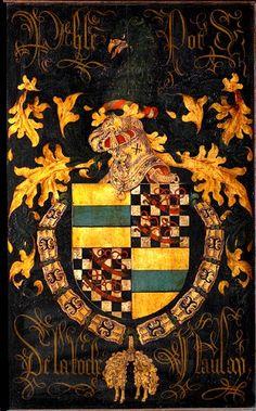 Golden Fleece Order stallplate of 62. Philippe Pot, Seigneur de La Roche de Nolay (1428-1493), Kathedraal Sint-Salvator Brugge, by Pierre Coustain, 1478.