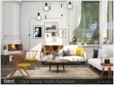 Created By Severinka Cleo living room furniture Created for: The Sims 4 Set of furniture for living room in Scandinavian style The set includes 12 objects: - corner fireplace - sofa - living. Living Room Sims 4, Sims 4 Cc Furniture Living Rooms, Sims 4 Bedroom, Bedroom Furniture Design, Living Room Sets, Bedroom Sets, Sims 4 Mods, Sims 3, Scandinavian Style