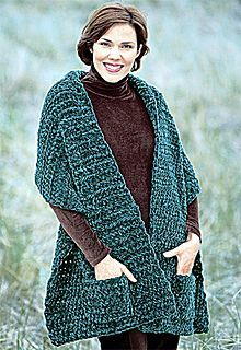 Knit or crochet this perfect pocket shawl in no time. It makes a great gift for you friends, your family or yourself. (Lion Brand Yarn)